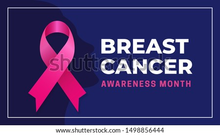 Breast cancer awareness month simple modern poster background design. Pink bow ribbon with woman face silhouette vector illustration graphic template
