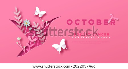 Breast Cancer Awareness Month web template illustration. Pink bird animal in 3D papercut style with spring flowers and butterfly decoration. Disease prevention campaign or women health care concept.