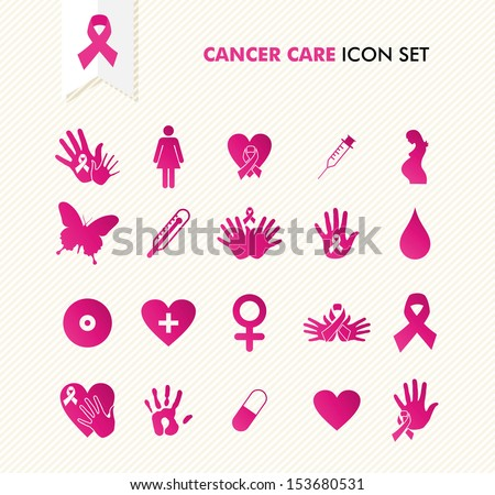 Breast cancer awareness ribbon symbol and health care elements icons set EPS10 vector file organized in layers for easy editing
