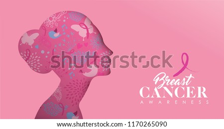 Breast Cancer Awareness web banner illustration for support and health care. Pink paper cut woman face silhouette with modern typography quote.  EPS10 vector.