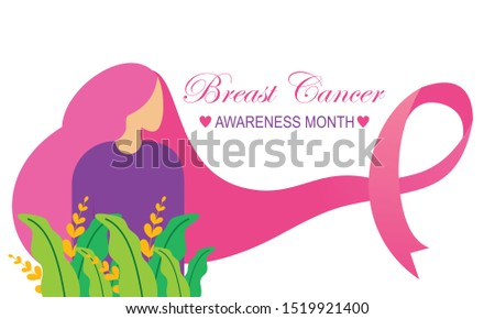 Breast cancer awareness with ribbon and illustration logo