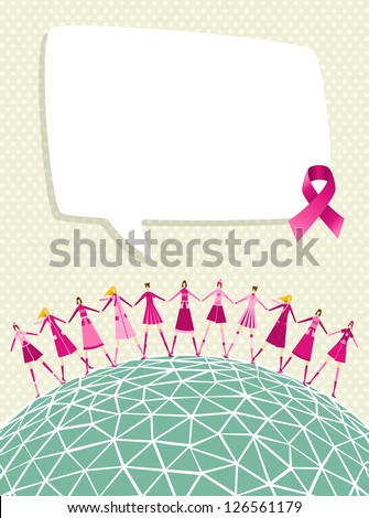 Breast cancer care global awareness with speech bubble and women teamwork. Vector file layered for easy manipulation and custom coloring.