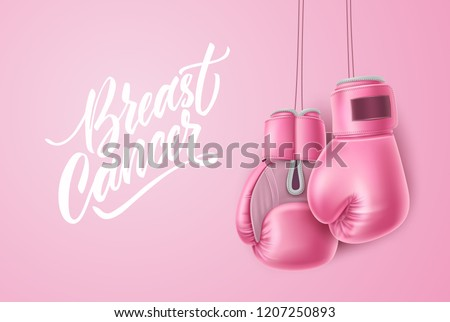 Breast cancer lettering awareness poster with realistic pink boxing gloves near calligraphy script. Women health care support symbol. female hope and fight concept. Vector illustration on pink