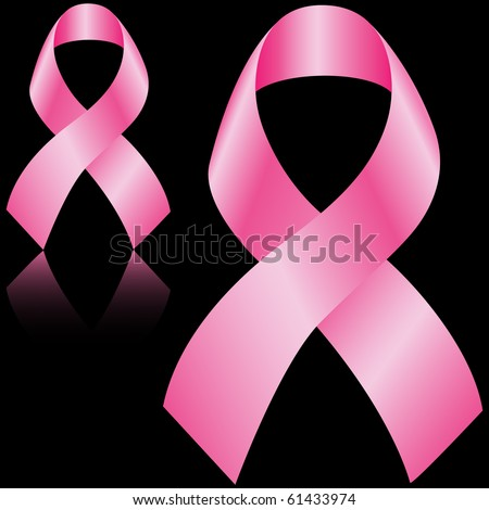 Breast cancer ribbons symbol isolated on black