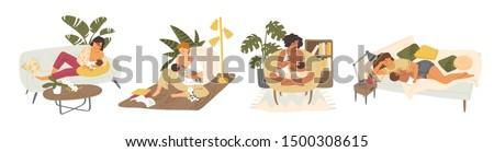 Breast feeding flat vector illustrations set. Young mothers nursing babies cartoon characters pack. Maternity leave, happy motherhood, natural feeding concept. Women breastfeeding infants indoors.