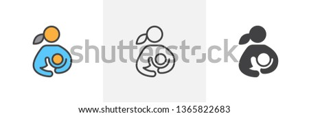 Breast feeding icon. Line, glyph and filled outline colorful version, woman breastfeeding her child outline and filled vector sign. Symbol, logo illustration. Different style icons set