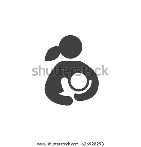 Breast feeding, woman breastfeeding her child icon vector, filled flat sign, solid pictogram isolated on white. Symbol, logo illustration. Pixel perfect
