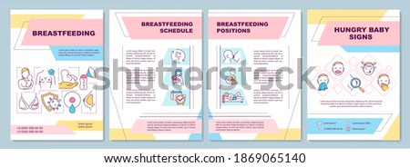 Breastfeeding brochure template. Schedule, position. Hungry baby signs. Flyer, booklet, leaflet print, cover design with linear icons. Vector layouts for magazines, annual reports, advertising posters Foto d'archivio ©