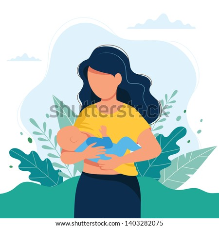 Breastfeeding illustration, mother feeding a baby with breast with nature and leaves background. Concept vector illustration in cartoon style.