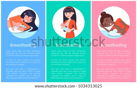 Breastfeeding informative banners set with women who feed their little newborn babies vector sample texts pages with females and infants in circles