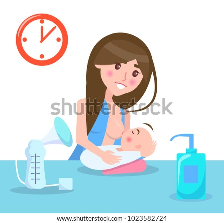 Breastfeeding mother and child, poster with woman and her baby, gel and clock on wall, love and motherhood, vector illustration isolated on white