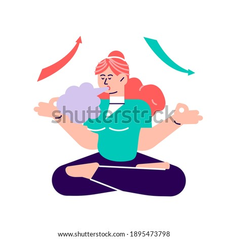 Breath exercise for good relaxation. Breathe in and out for relax. Deep breathing