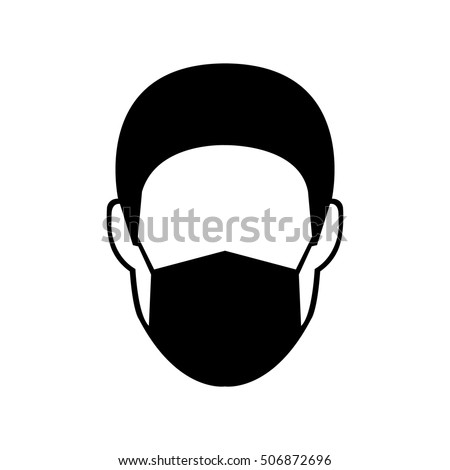 breathing mask on man vector
