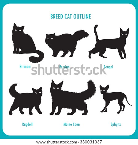 breed cat outline icons black