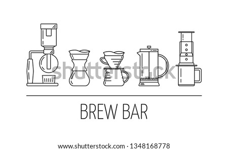 Brew bar. Set of vector black linear icons about coffee brewing methods. Siphon, pour over, french press, aeropress. Flat design. Vector illustration
