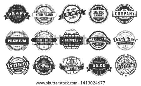 Brewery badge. Draft beer barrel emblem, retro circle badges and quality emblems vintage hipster logo stamps vector set