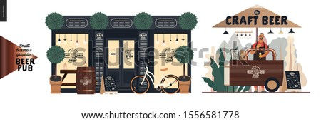 Brewery, craft beer pub -small business graphics -a bar facade and vending cart-modern flat vector concept illustrations -a pub front, shocase, bicycle. Street food cart under the umbrella