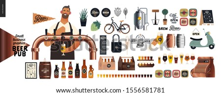 Brewery, craft beer pub -small business graphics -male visitor at the bar countera bartender-modern flat vector concept illustrations -young man pouring beer from the beer tower. Brewery elements ストックフォト ©