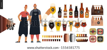 Brewery, craft beer pub -small business graphics -pub owners and brewery components -modern flat vector concept illustrations -man, woman, bartenders wearing apron. Bottles, glasses, casks, beer mats