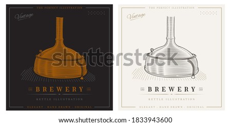 Brewery kettle vintage hand drawn copper distillery brewing company logo ストックフォト ©