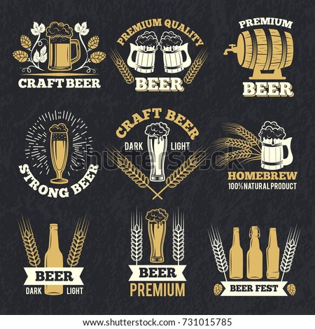 Brewery labels isolate on dark background. Badges template with place for your text. Alcohol badge drink, vintage premium pub, vector illustration