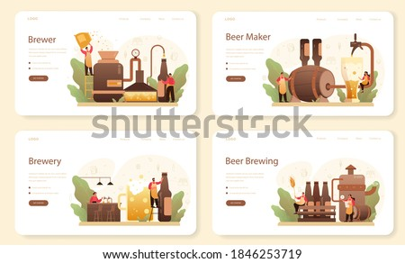Brewery web banner or landing page set. Craft beer production, brewing process. draught beer tank, vintage mug and bottle full of alcohol drink. Isolated vector illustration ストックフォト ©