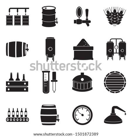 Brewing And Distilling Icons. Black Flat Design. Vector Illustration. ストックフォト ©