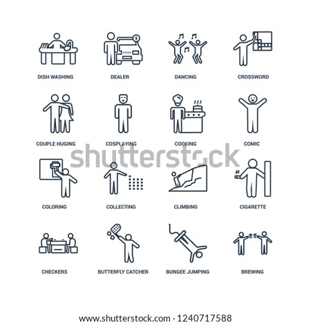 Brewing, Bungee jumping, Butterfly catcher, Checkers, Cigarette, Dish Washing, Couple Huging, Coloring, Cooking outline vector icons from 16 set #1240717588