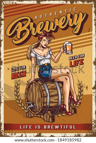 Brewing colorful vintage poster with pretty woman holding cup of fresh beer and sitting on wooden barrel with tap vector illustration