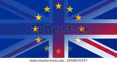 brexit blue european union EU half flag and great britain half flag, united kingdom exit concept