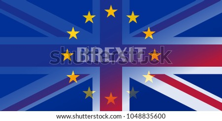 brexit blue european union EU half flag and great britain half flag with BREXIT text, united kingdom exit concept