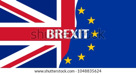 brexit blue european union EU half flag and great britain half flag with BREXIT text, united kingdom exit symbol