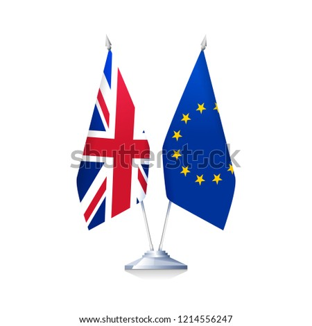 Brexit concept. Flags of Great Britain and European Union isolated on white background. Vector illustration
