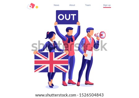 Brexit concept United Kingdom banner. Political traditional government country voting anti European Union. Waving politics patriotic international supporters. Humans support separated Uk flag. Cartoon