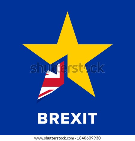 Brexit Logo Concept. No deal brexit banner with EU european union and union jack UK flag. United Kingdom has left the EU and must agree a trade  deal before 31 December 2020.
