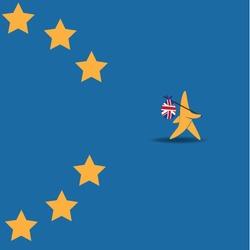 Brexit star walking off EU flag. EPS 10 vector.
