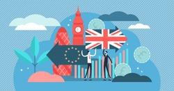 Brexit vector illustration. Flat tiny UK leaving EU referendum persons concept. Britain exit european union vote crisis symbol. Economical and political decision choice result. Euroscepticism reform.