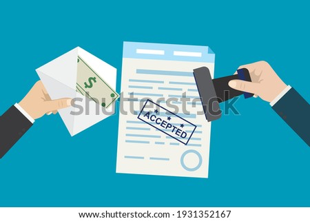 Bribery and corruption. Hand gives envelope with banknotes, other hand put stamp on document. Successful bribe deal. Criminal payment. Illegal cash for agreement or contract. Flat Vector illustration Сток-фото ©