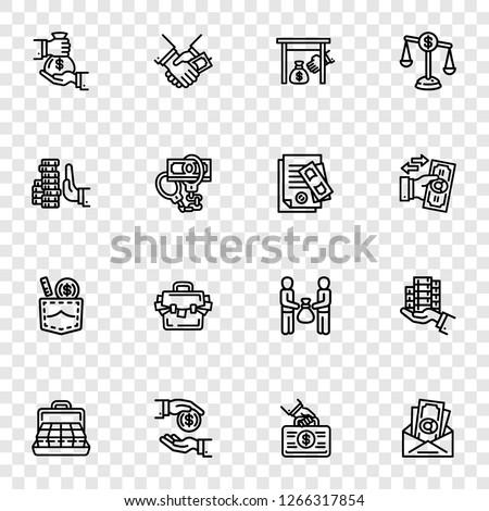 Bribery icon set. Outline set of bribery vector icons for web design Сток-фото ©