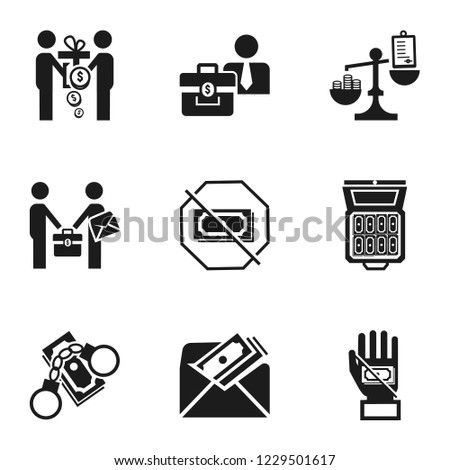 bribery money icon set simple