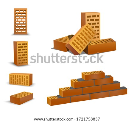 Brick different foreshortening, top and front. orenge bricks on white background. Ceramic blocks from a new development in the construction sector. Brick wall vector