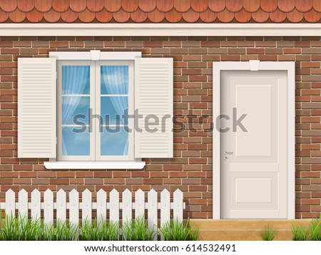 Brick facade of the old building with a white window and a door. Red tile roof. Front garden near entrance of the house. Vector detailed illustration.