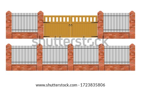 Brick fence with wooden gate vector illustration isolated on white background Foto d'archivio ©