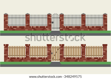brick fences with wooden and