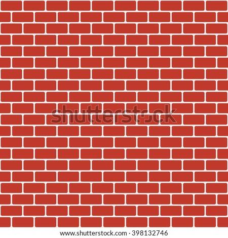 Brick pattern. Seamless vector brick wall background. Red bricks