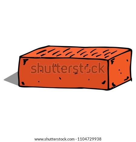 Brick. Red brick. Vector illustration of a red brick building. Hand drawn building red brick.