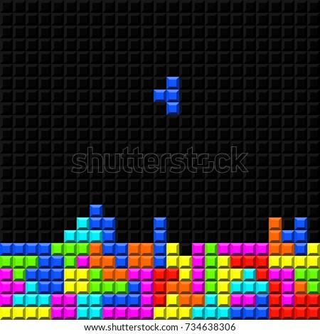brick retro tetris game vector