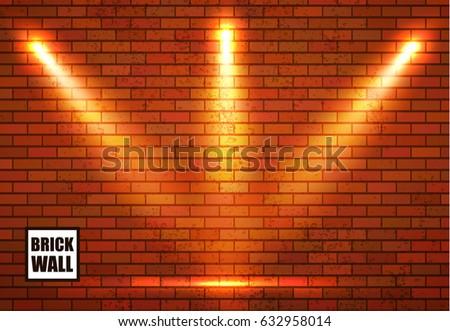 Brick Wall Empty Place And Spotlights Scene Illumination Vector Illustration