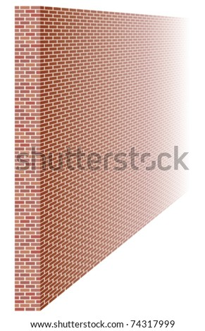 Brick wall fading away into distance