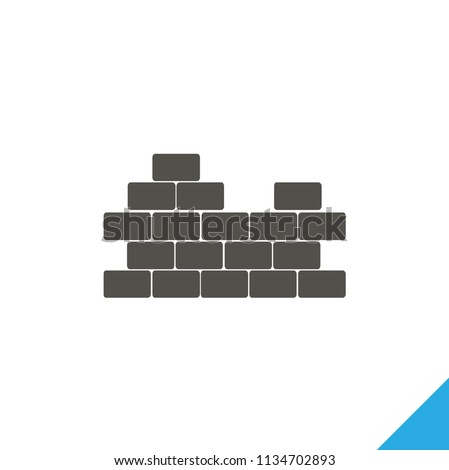 Brick wall flat vector icon